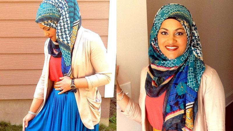 Tutorial Kreasi Hijab Satin Bercorak Kurang dari 1 Menit, Yuk Dicoba!