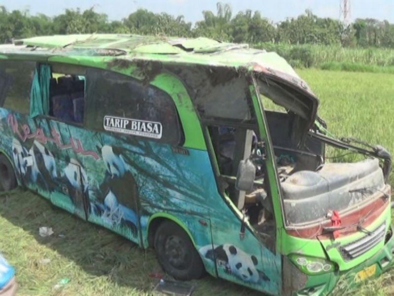 Bus Restu terguling dan masuk ke sawah, di Kabupaten Jombang (Foto: Mukhtar/Okezone)