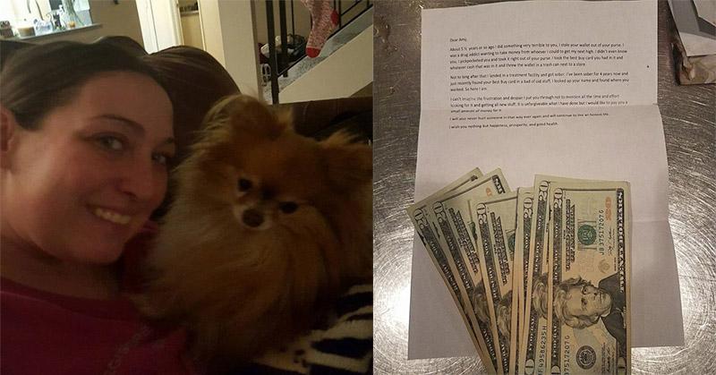 Foto Amy Christine dan uang serta sepucuk surat yang diterimanya (Foto: Facebook/Metro)
