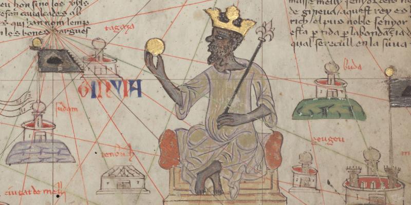 Mansa Musa digambarkan dalam Atlas Catalan 1375, salah satu peta dunia terpenting pada abad pertengahan di Eropa. (Foto: Wikimedia Commons)