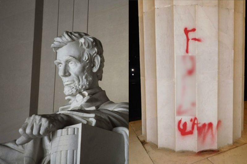 Duh, Tugu Peringatan Abraham Lincoln Dirusak dengan Grafiti