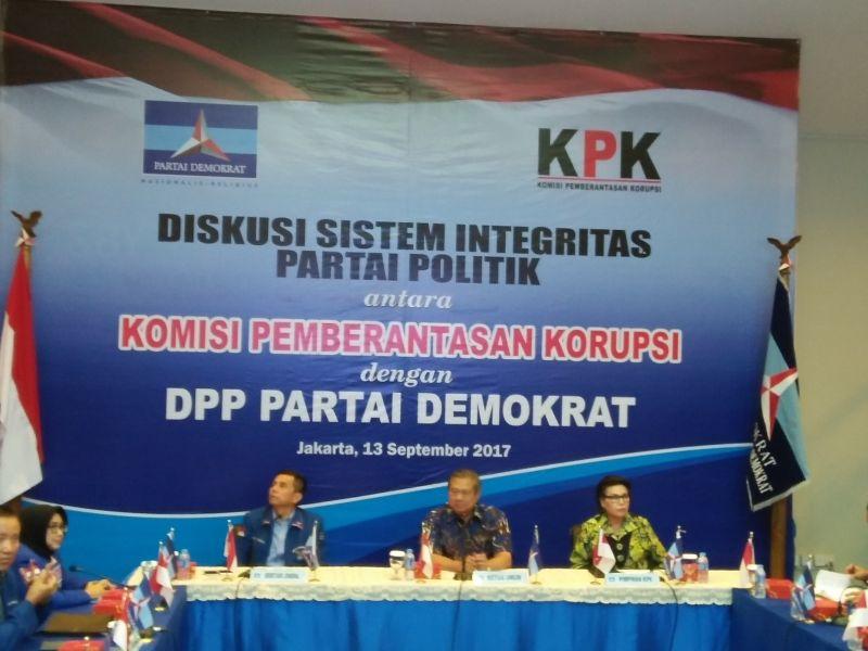 Diskusi antara KPK dan Partai Demokrat di DPP Demokrat. Foto Okezone/Fadel Prayoga
