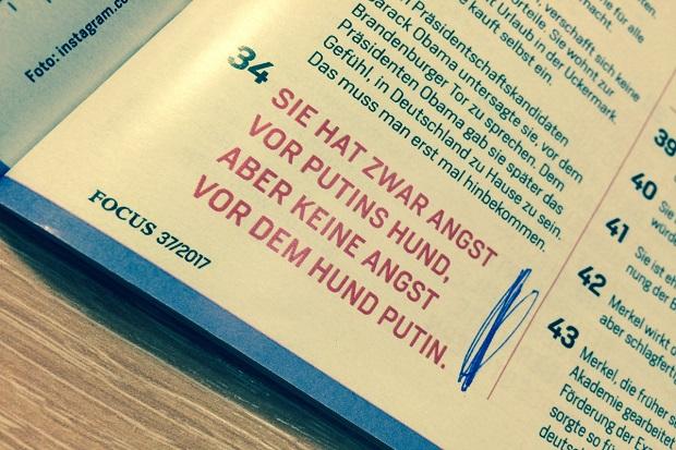 Isi majalah yang dianggap menghina Putin. (Foto: @RusBotschaft/Sindonews)