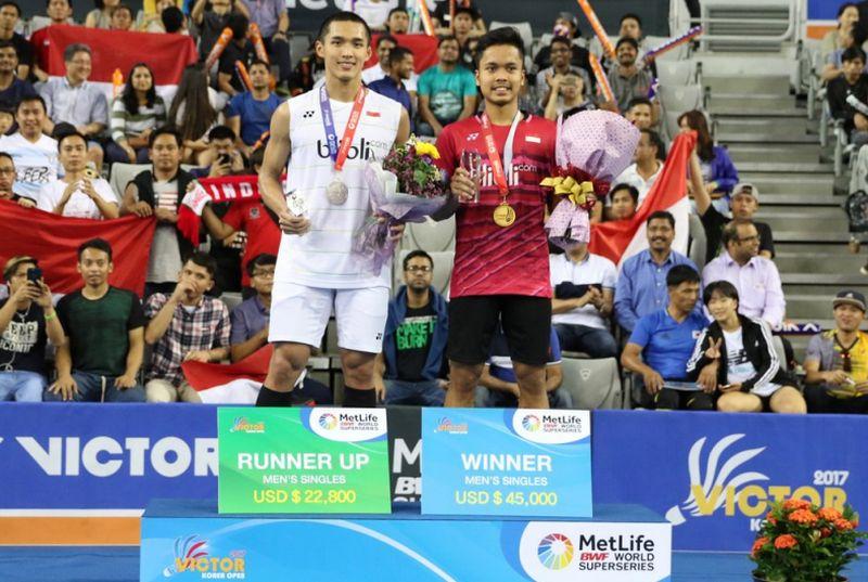 Bawa Pulang 2 Gelar Juara, Indonesia Juara Umum di Korea Open Superseries 2017