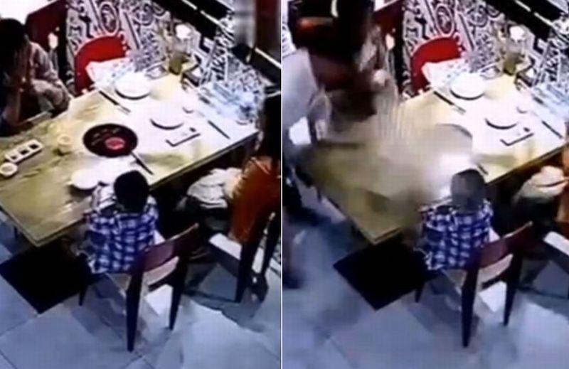 Anak laki-laki yang tersiram air panas bersama orangtuanya saat berada di sebuah restoran. (Foto: Asia One)