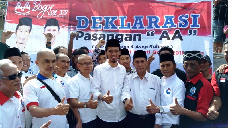 Ade Wardhana-Asep Ruhiyat Deklarasi Maju ke Pilbup Bogor di Pendopo Bupati Pertama