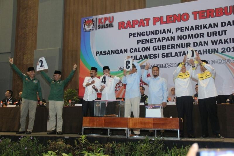Ini Nomor Urut Paslon di Pilkada Sulawesi Selatan