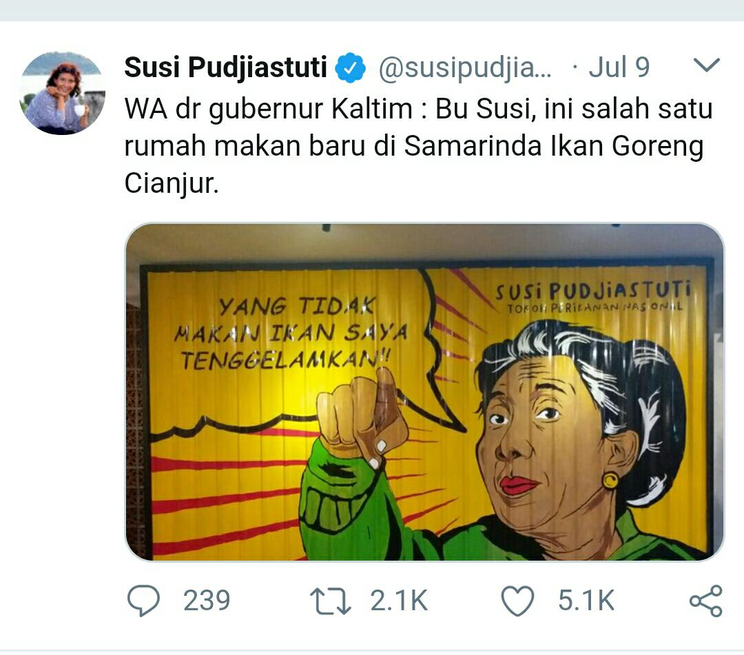 Ada Gambar Kartun Menteri Susi Segede Gaban Di Rumah Makan