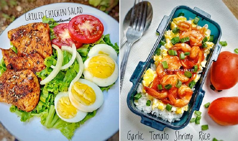 https: img.okezone.com content 2018 09 13 298 1950099 menu-diet-sehat-grilled-chicken-salad-dan-garlic-tomato-shrimp-rice-DWMPPMkiqY.jpg