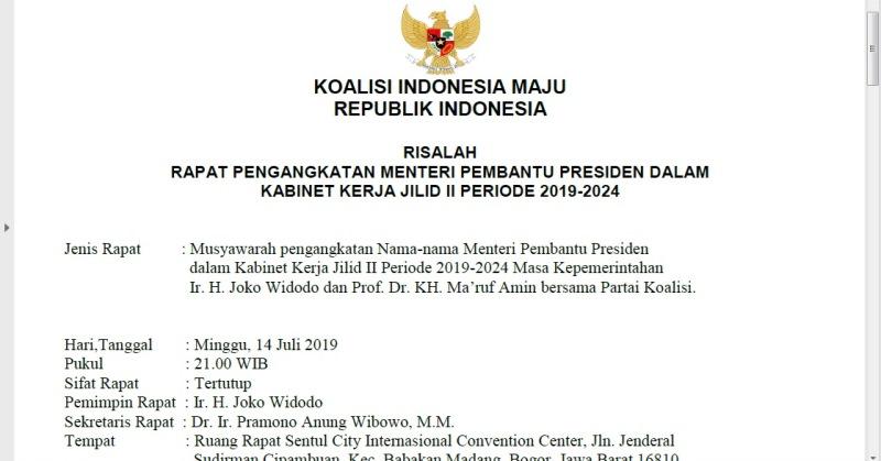 Beredar Nama Nama Menteri Jokowi Ma Ruf Di Kabinet Kerja Jilid Ii