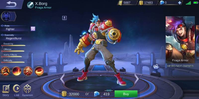 x borg hero baru game mobile legends dengan semburan api