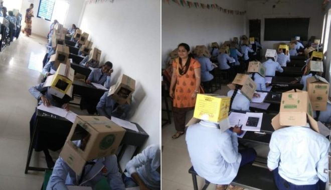 https: img.okezone.com content 2019 10 20 18 2119364 cegah-menyontek-mahasiswa-di-india-kerjakan-ujian-mengenakan-kardus-di-kepala-65KESBHZeJ.jpg