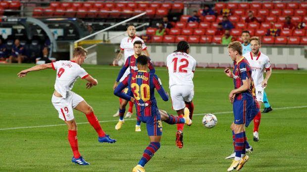 Barcelona vs Sevilla Sama Kuat di Babak Pertama : Okezone Bola