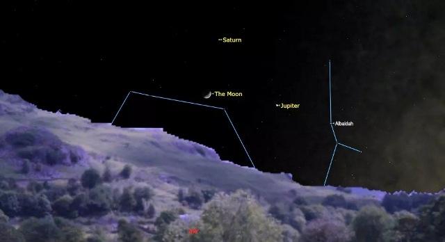 Malam Ini Langit Suguhkan Segitiga Bulan-Jupiter-S