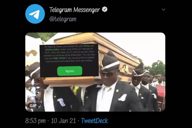 https: img.okezone.com content 2021 01 12 16 2342864 imbas-kebijakan-baru-whatsapp-telegram-keluarkan-meme-gif-tarian-pembawa-keranda-mayat-di-twitter-iEHuQXd2OR.jpg