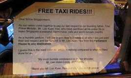 Ada Taksi Gratis Bagi Para Pelayat Lee Kuan Yew