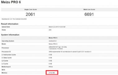 Meizu Pro 6 RAM 3 GB Tertangkap GeekBench