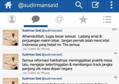\TERPOPULER : Di-reshuffle Sudirman Said Pamitan di Twitter\