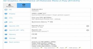 Muncul di Benchmark, Ini Spesifikasi Moto Z Play