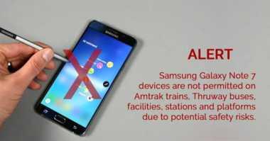 Tak Hanya Pesawat, Galaxy Note 7 Juga Dilarang di Kereta