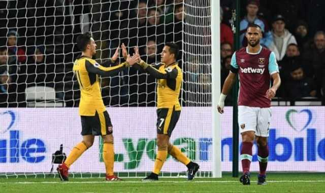 Arsenal Unggul Tipis atas West Ham di Paruh Pertama