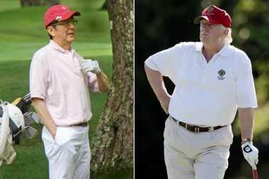 Donald Trump Nikmati Permainan Golfnya dengan Shinzo Abe