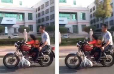 Edan, Balita Perempuan 'Boncengi' Ayahnya Naik Motor Sport