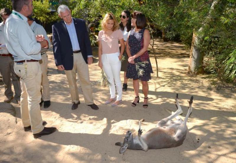 Wapres AS dan Keluarga Bersantai di Kebun Binatang Australia