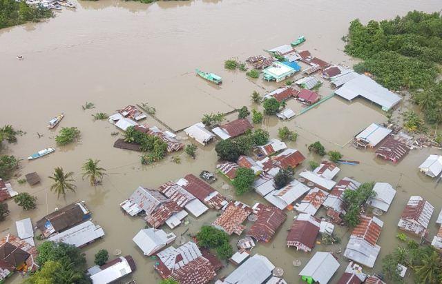 Pantauan dari Udara, Wilayah Gantung Belitung Timur Masih Dikepung Banjir