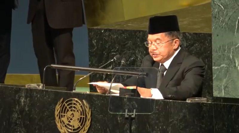 Mantap! Wapres JK Pamer Slogan 'Bersatu Kita Teguh Bercerai Kita Runtuh' di Sidang Majelis Umum PBB