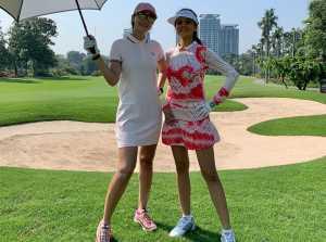 Intip Gaya Luna Maya dan Farah Quinn Main Golf Bareng