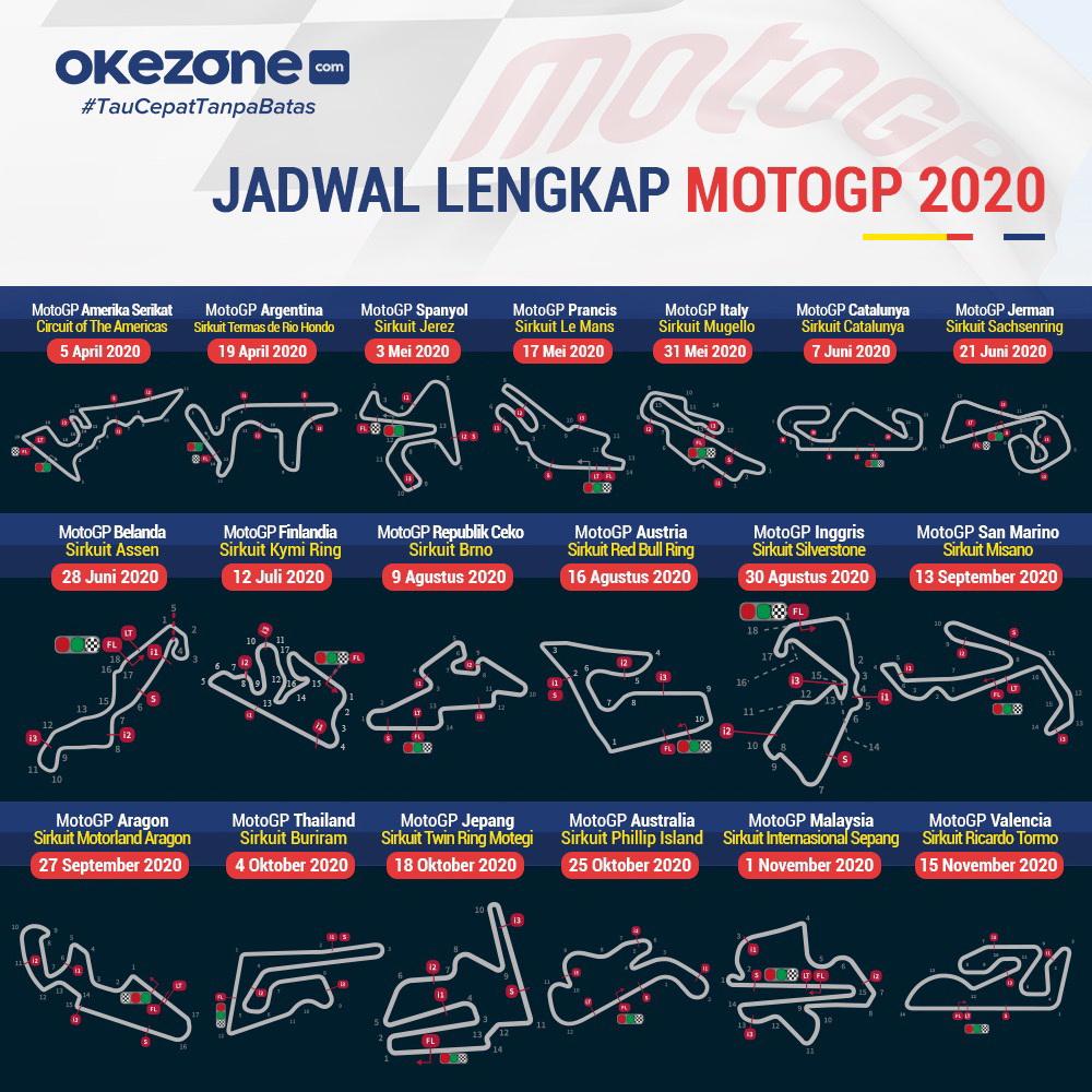 Jadwal Lengkap MotoGP 2020 - Jadwal lengkap MotoGP 2020.