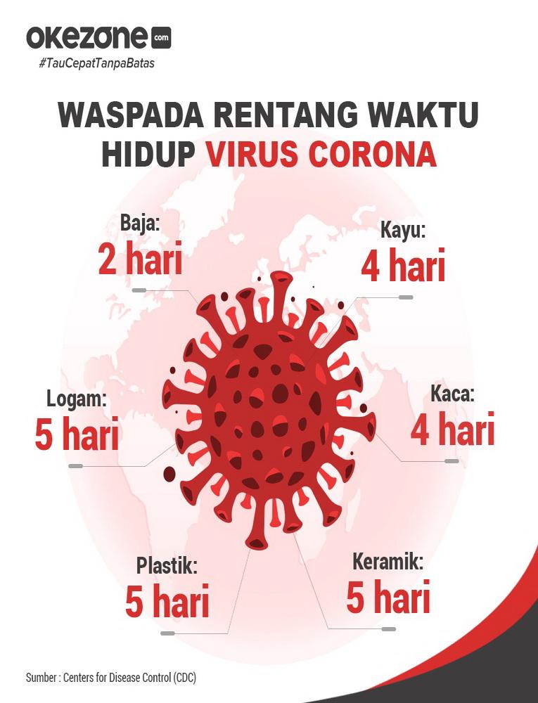 Rentang Waktu Hidup Virus Corona -