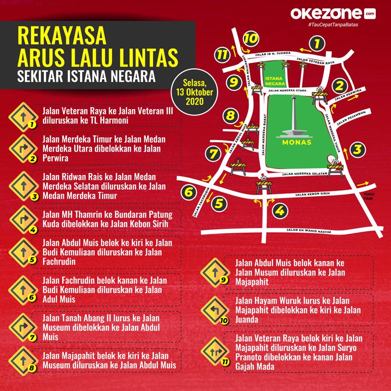 Rekayasa Arus Lalu Lintas Sekitar Istana Negara Selasa, 13 Oktober 2020 -