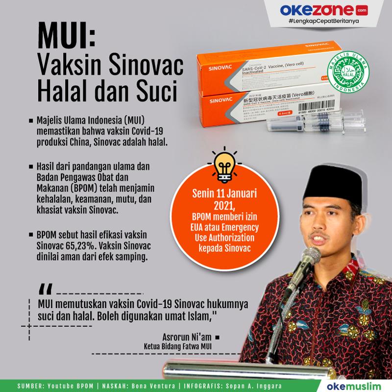 MUI: Vaksin Sinovac Halal dan Suci -