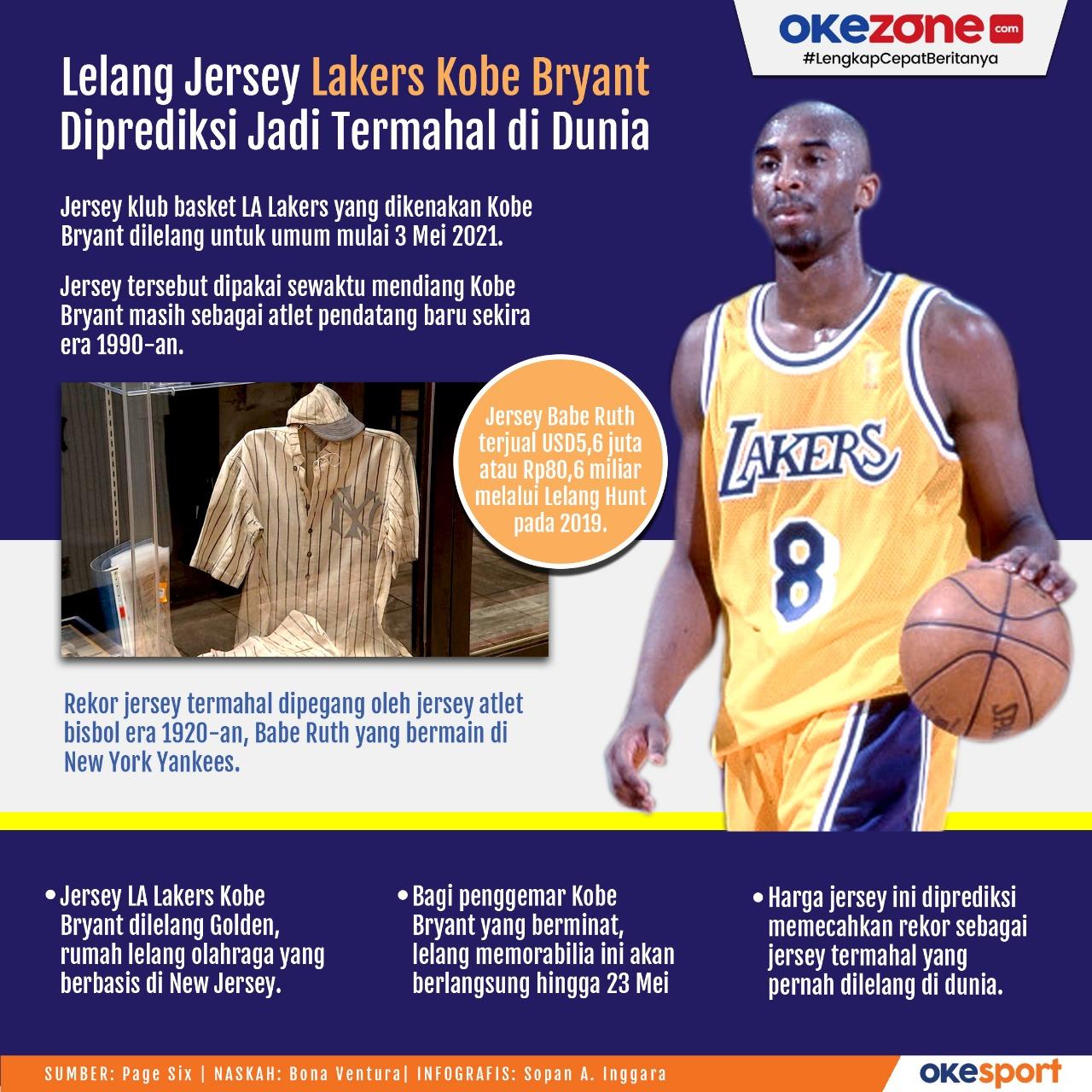 Lelang Jersey Kobe Bryant Diprediksi Jadi Termahal di Dunia -