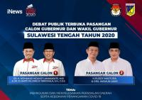 iNews Tayangkan Debat Terbuka Cagub dan Cawagub Sulawesi Tengah