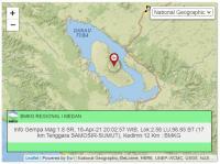 Malam Ini, Kabupaten Samosir 3 Kali Diguncang Gempa