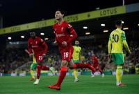 Gol Cepat Takumi Minamino Antarkan Liverpool Unggul 1-0 atas Norwich di Babak Pertama