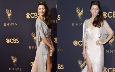 Gara-Gara AC Mati, Jessica Biel Tampil Basah di Atas Red Carpet Emmy Awards 2017