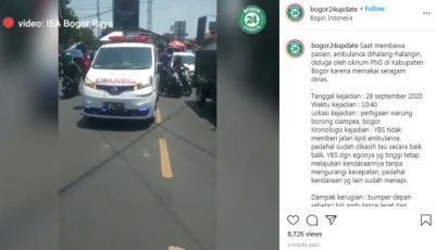Viral! Mobil Oknum PNS Diduga Halangi Ambulans di Bogor, Netizen: Botak Kepalanya