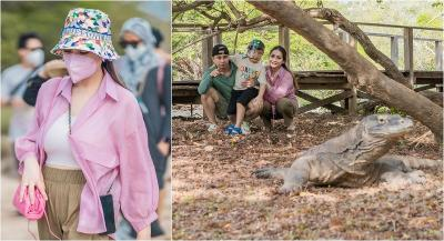 Keluarga Raffi Ahmad Sambangi Pulau Komodo, Nagita Slavina Cantik Pakai Masker!