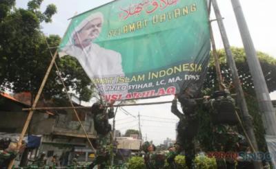 Dandim Jaksel Pastikan Jalan Protokol Bersih dari Baliho Habib Rizieq