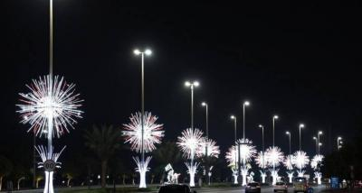 Abu Dhabi Makin Cantik, Sepenjuru Kota Dihiasi Ribuan Lampu Warna-warni