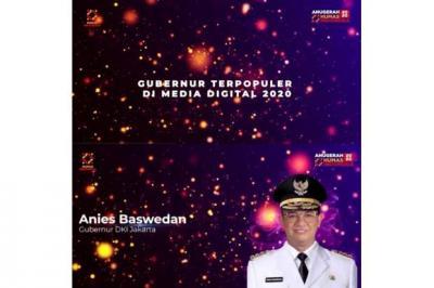 Anies Baswedan Raih Penghargaan Gubernur Terpopuler di Media Digital 2020