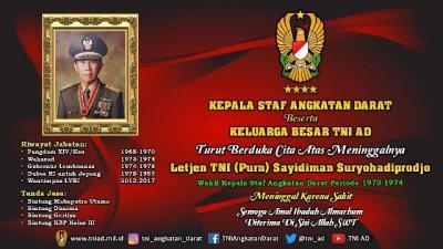 Keluarga Besar TNI AD Berduka Atas Meninggalnya Letjen  Purn  Sayidiman