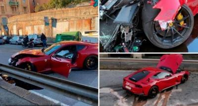 Ferrari Milik Kiper Klub Bola Ternama Kecelakaan hingga Ringsek, Ini Penampakannya