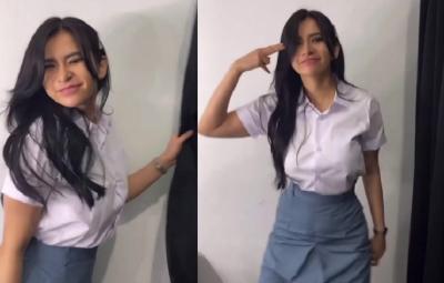 Maria Vania Joget Pakai Baju SMA, Netizen: Mulai Aktif Ya Bun