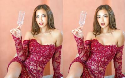 Pose Menggoda Jessica Iskandar Bergaun Merah, Dinar Candy: Ulala