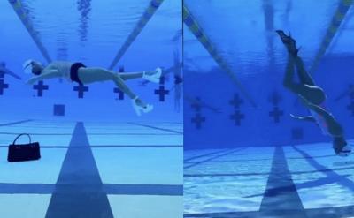 Pakai Heels! Perenang Berputar 360 Derajat dengan Berjalan di Dalam Air